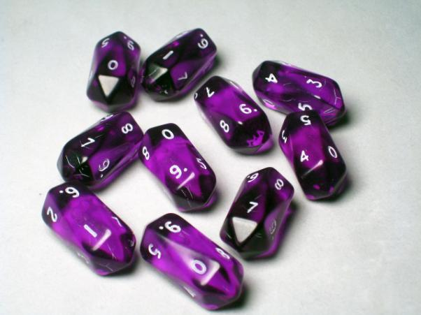 Crystal Caste Dice Sets: Purple Translucent Crystal d10 (10-Die Set)