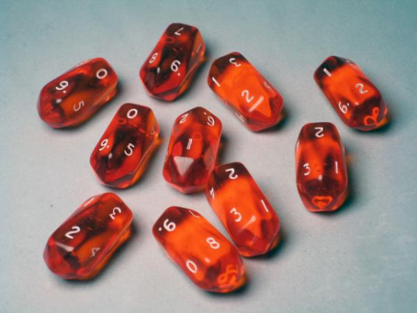 Crystal Caste Dice Sets: Orange Translucent Crystal d10 (10-Die Set)