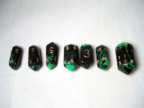 Crystal Caste RPG Dice Sets: Green Crystal Oblivion 7-Die Set