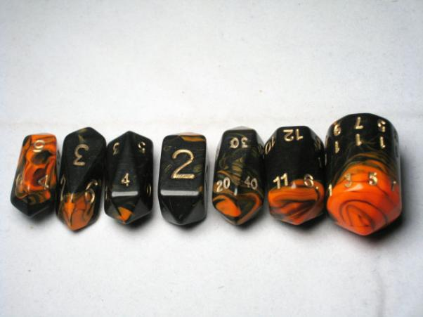 Crystal Caste RPG Dice Sets: Orange Crystal Oblivion 7-Die Set