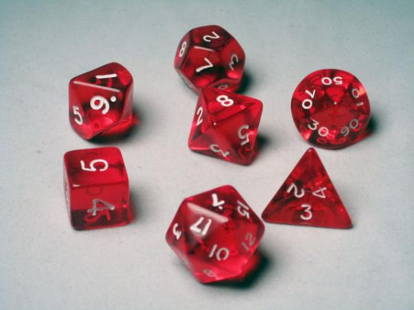Crystal Caste RPG Dice Sets: Red Translucent Polyhedral 7-Die Cube/Set