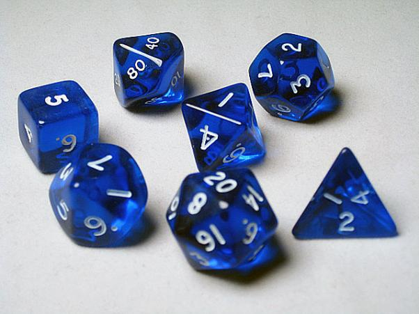 Crystal Caste RPG Dice Sets: Blue Translucent Polyhedral 7-Die Cube/Set