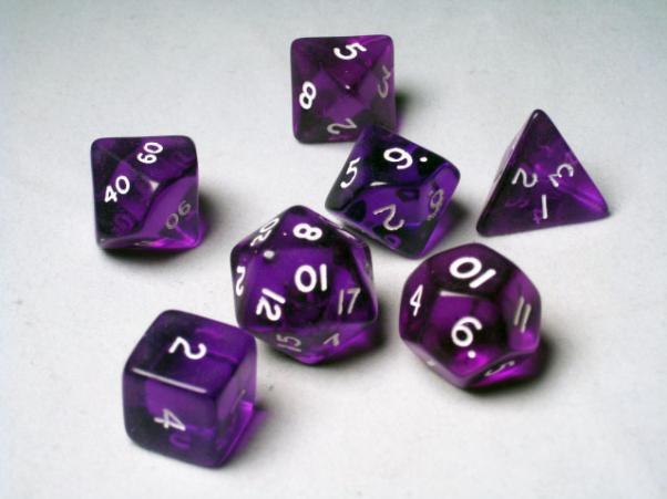 Crystal Caste RPG Dice Sets: Purple Translucent Polyhedral 7-Die Cube/Set