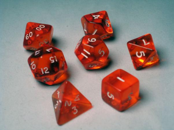 Crystal Caste RPG Dice Sets: Orange Translucent Polyhedral 7-Die Cube/Set