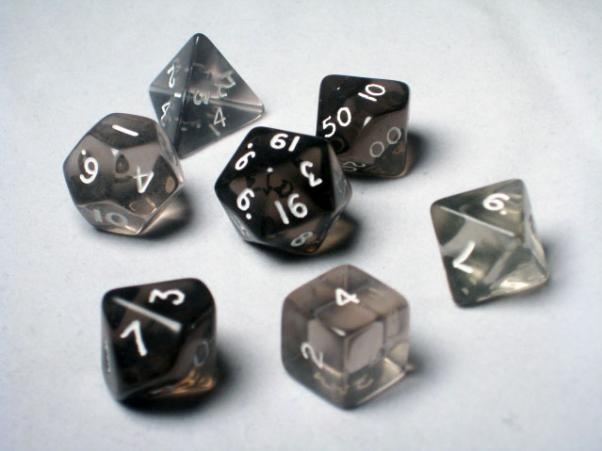 Crystal Caste RPG Dice Sets: Black Translucent Polyhedral 7-Die Cube/Set