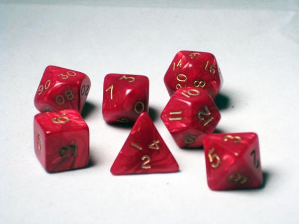 Crystal Caste RPG Dice Sets: Red Pearl Polyhedral 7-Die Cube/Set