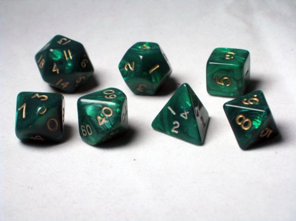 Crystal Caste RPG Dice Sets: Green Pearl Polyhedral 7-Die Cube/Set
