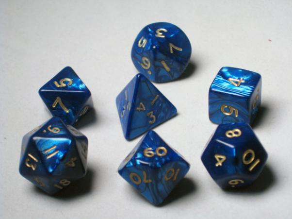 Crystal Caste RPG Dice Sets: Blue Pearl Polyhedral 7-Die Cube/Set