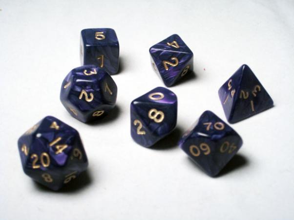 Crystal Caste RPG Dice Sets: Purple Pearl Polyhedral 7-Die Cube/Set