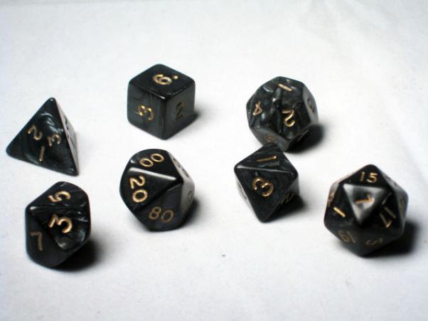 Crystal Caste RPG Dice Sets: Black Pearl Polyhedral 7-Die Cube/Set