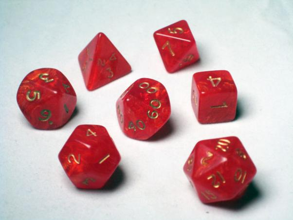 Crystal Caste RPG Dice Sets: Red Ancient Polyhedral 7-Die Cube/Set