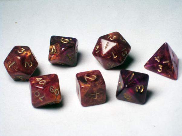 Crystal Caste RPG Dice Sets: Purple Ancient Polyhedral 7-Die Cube/Set