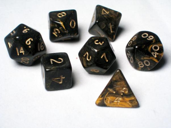 Crystal Caste RPG Dice Sets: Black Ancient Polyhedral 7-Die Cube/Set
