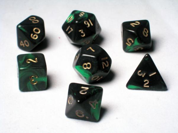 Crystal Caste RPG Dice Sets: Green Oblivion Polyhedral 7-Die Cube/Set