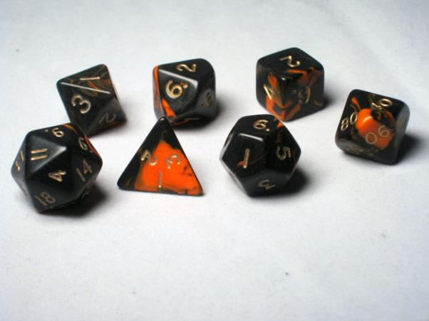 Crystal Caste RPG Dice Sets: Orange Oblivion Polyhedral 7-Die Cube/Set