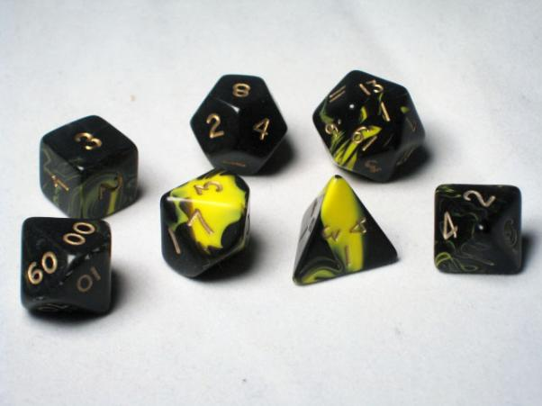 Crystal Caste RPG Dice Sets: Yellow Oblivion Polyhedral 7-Die Cube/Set