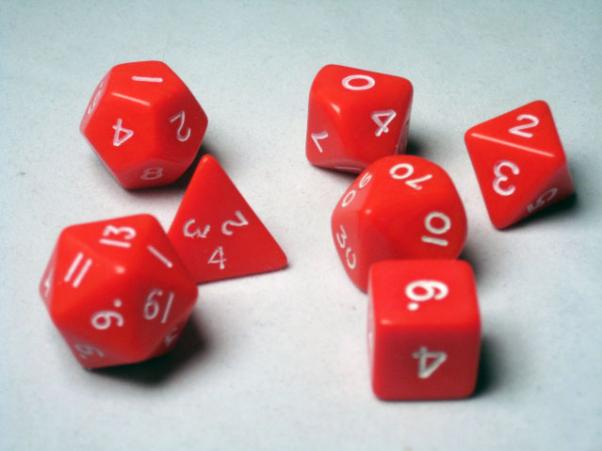 Crystal Caste RPG Dice Sets: Red Opaque Polyhedral 7-Die Cube/Set