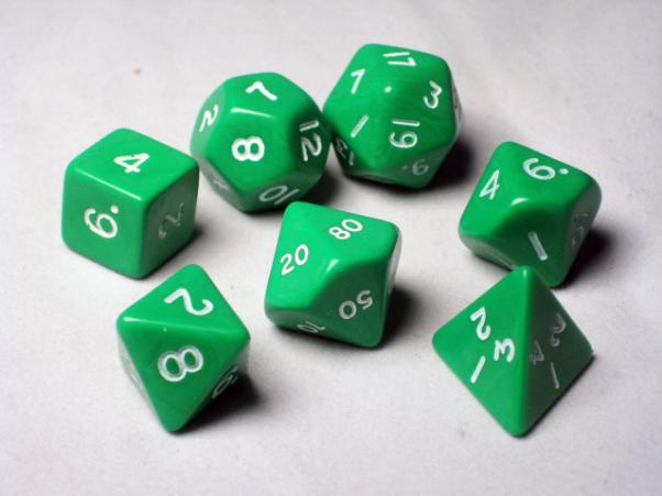 Crystal Caste RPG Dice Sets: Green Opaque Polyhedral 7-Die Cube/Set