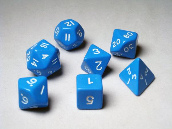 Crystal Caste RPG Dice Sets: Blue Opaque Polyhedral 7-Die Cube/Set