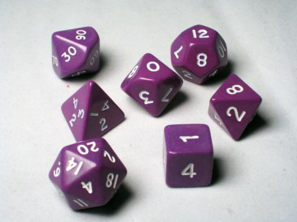 Crystal Caste RPG Dice Sets: Purple Opaque Polyhedral 7-Die Cube/Set
