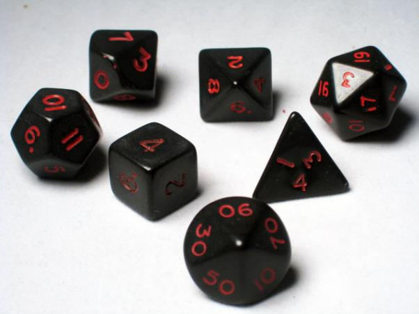 Crystal Caste RPG Dice Sets: Black Opaque Polyhedral 7-Die Cube/Set