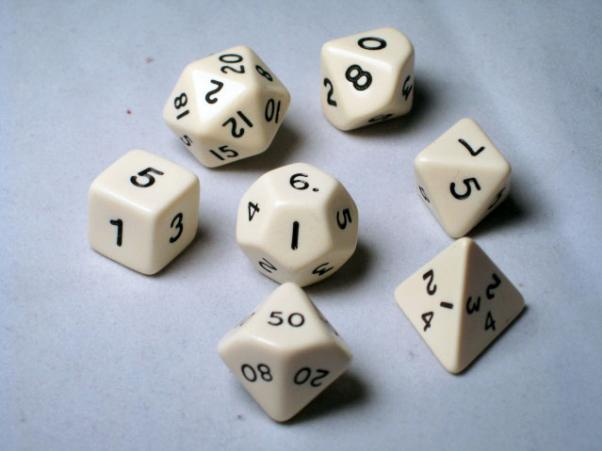 Crystal Caste RPG Dice Sets: Ivory Opaque Polyhedral 7-Die Cube/Set