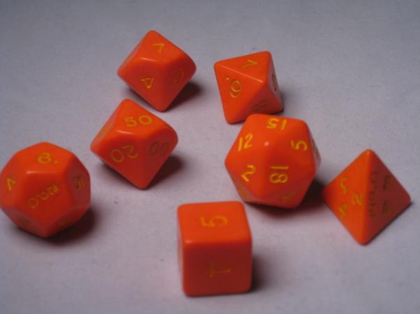 Crystal Caste RPG Dice Sets: Orange D'oh! Opaque Polyhedral 7-Die Cube/Set