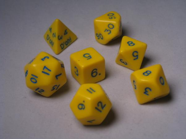 Crystal Caste RPG Dice Sets: Yellow D'oh! Opaque Polyhedral 7-Die Cube/Set