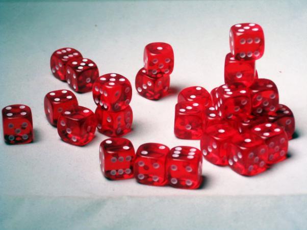 Crystal Caste Dice Sets: Red Translucent 12mm d6 (Set of 27 Dice)