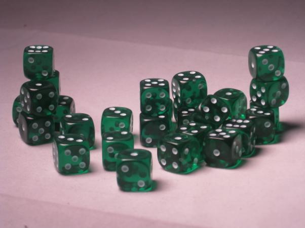Crystal Caste Dice Sets: Teal Translucent 12mm d6 (Set of 27 Dice)