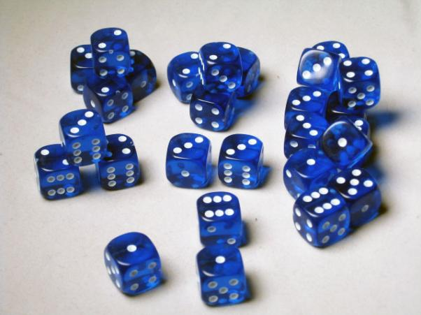 Crystal Caste Dice Sets: Blue Translucent 12mm d6 (Set of 27 Dice)