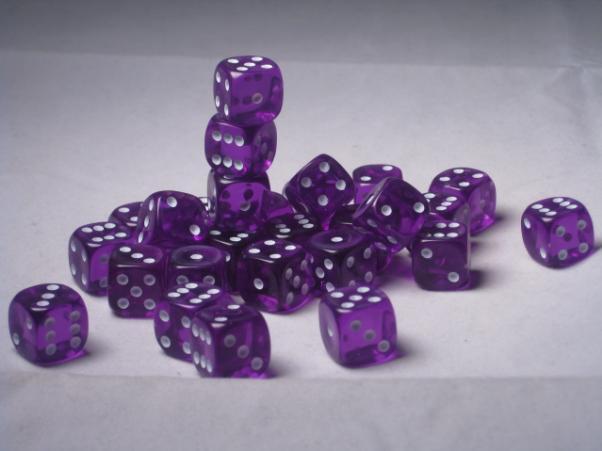 Crystal Caste Dice Sets: Purple Translucent 12mm d6 (Set of 27 Dice)