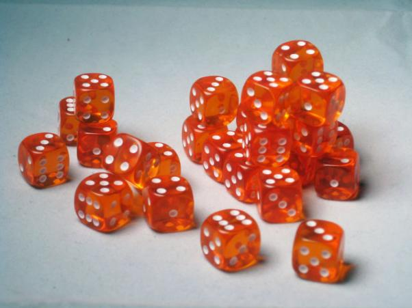 Crystal Caste Dice Sets: Orange Translucent 12mm d6 (Set of 27 Dice)