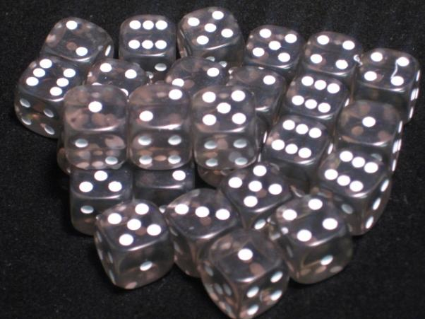 Crystal Caste Dice Sets: Black Translucent 12mm d6 (Set of 27 Dice)
