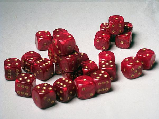 Crystal Caste Dice Sets: Red Pearl 12mm d6 (Set of 27 Dice)