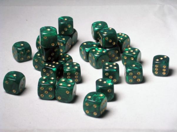 Crystal Caste Dice Sets: Green Pearl 12mm d6 (Set of 27 Dice)