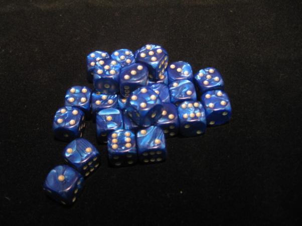Crystal Caste Dice Sets: Blue Pearl 12mm d6 (Set of 27 Dice)