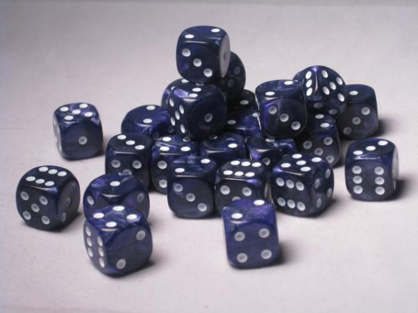 Crystal Caste Dice Sets: Purple Pearl 12mm d6 (Set of 27 Dice)