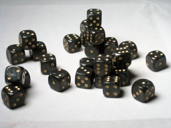 Crystal Caste Dice Sets: Black Pearl 12mm d6 (Set of 27 Dice)