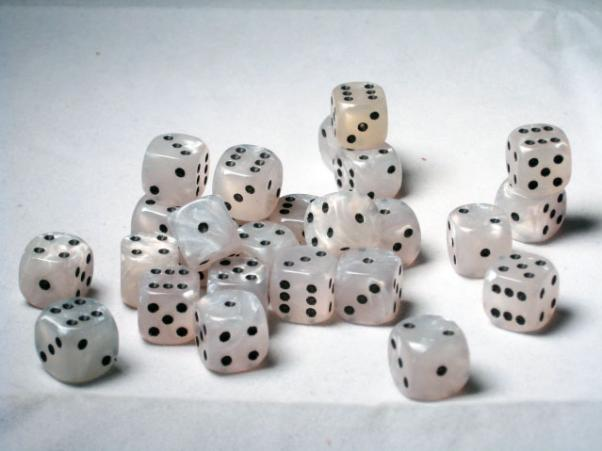 Crystal Caste Dice Sets: White Pearl 12mm d6 (Set of 27 Dice)