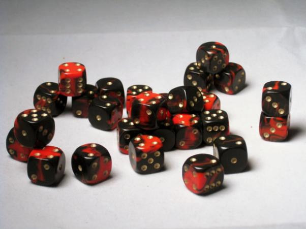 Crystal Caste Dice Sets: Red Oblivion 12mm d6 (Set of 27 Dice)