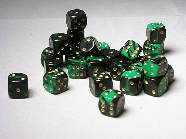 Crystal Caste Dice Sets: Green Oblivion 12mm d6 (Set of 27 Dice)