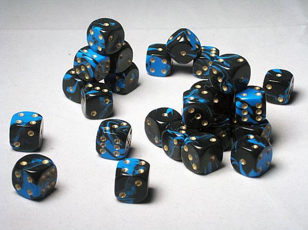 Crystal Caste Dice Sets: Blue Oblivion 12mm d6 (Set of 27 Dice)