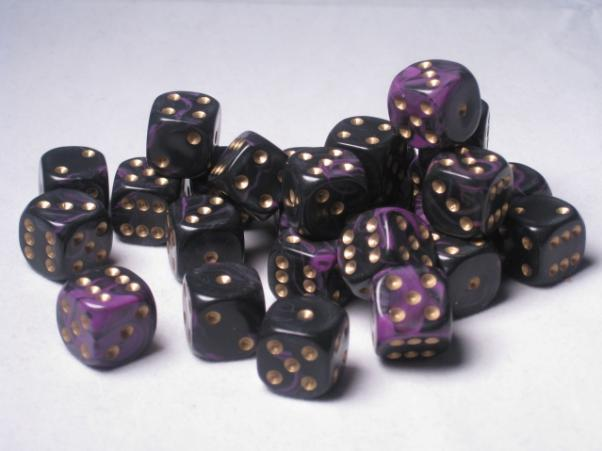 Crystal Caste Dice Sets: Purple Oblivion 12mm d6 (Set of 27 Dice)