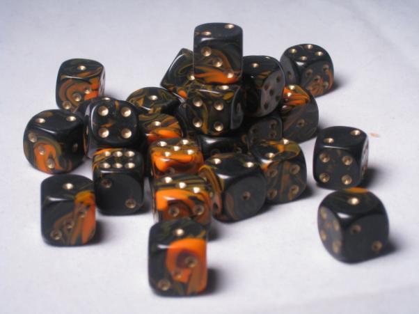 Crystal Caste Dice Sets: Orange Oblivion 12mm d6 (Set of 27 Dice)