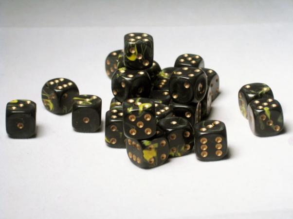 Crystal Caste Dice Sets: Yellow Oblivion 12mm d6 (Set of 27 Dice)