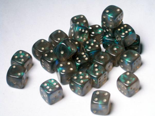 Crystal Caste Dice Sets: Black/Teal Fire Opal 12mm d6 (Set of 27 Dice)