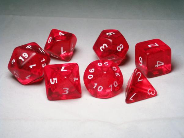Crystal Caste RPG Dice Sets: Red Giant Translucent Polyhedral 7-Die Cube/Set