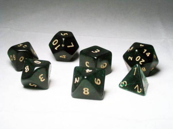 Crystal Caste RPG Dice Sets: Green Giant Translucent Polyhedral 7-Die Cube/Set