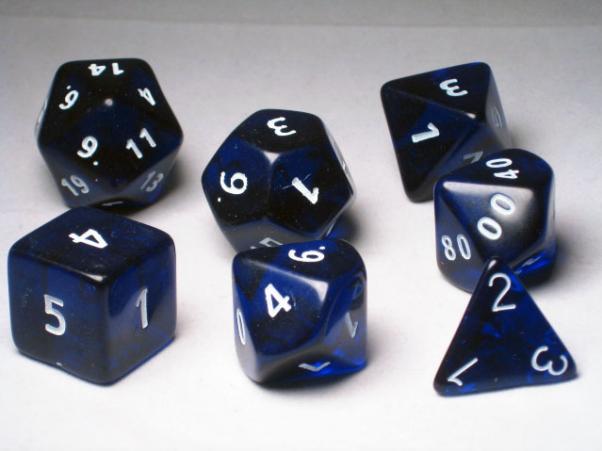 Crystal Caste RPG Dice Sets: Blue Giant Translucent Polyhedral 7-Die Cube/Set